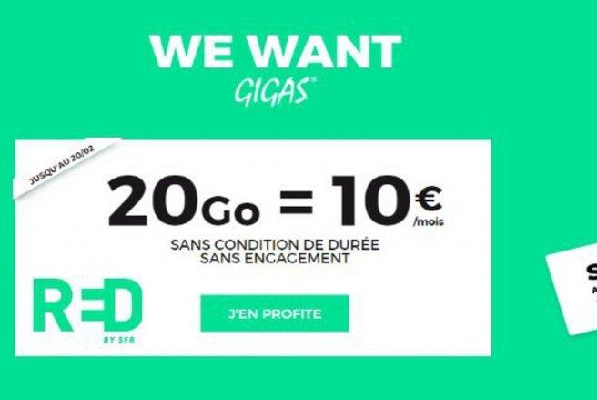 RED by SFR vient de multiplier par 20 la data de son forfait 1Go à 10 € - DR.